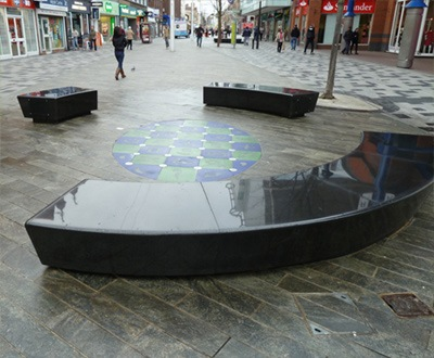 Bespoke black granite seating